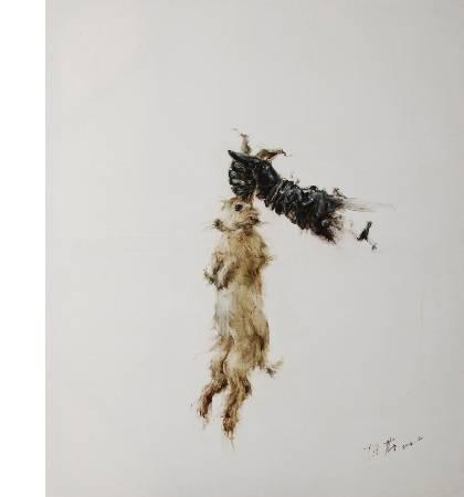 陳蔚 波依斯的兔子 布面油畫 100x120cm  陳蔚作品 2009