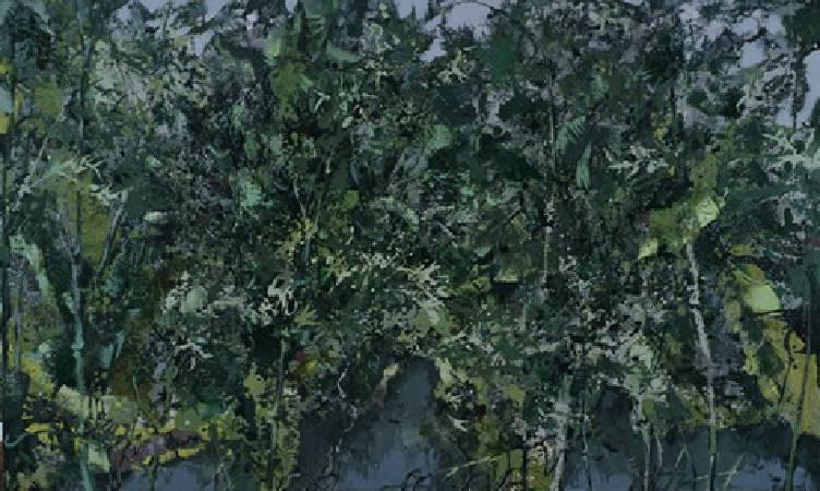 洪凌 雨點芭蕉 油彩畫布 150x250cm 2007