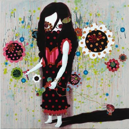 邱銍韋 時尚女孩 油畫 120x120cm 2008