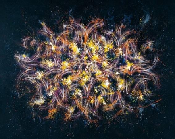 楊仁明 裝月光-分列式五 壓克力 油彩 227x182cm 2008