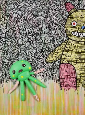 對立 II 130x97cm 2010 壓克力 墨水筆 手工娃娃 畫布