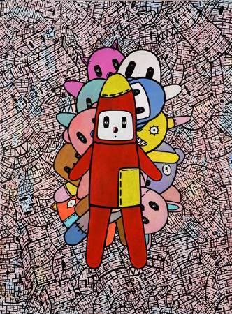 我心中的熊III 130x97cm 2010 壓克力 墨水筆 施華洛世奇水晶 畫布