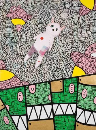 張力 III 130x97cm 2010 壓克力 墨水筆 手工娃娃 畫布