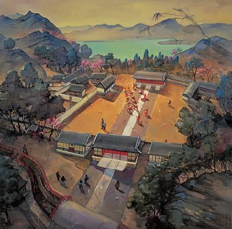 周金華 圓明園1A 200X200cm 複合媒材 畫布 2009