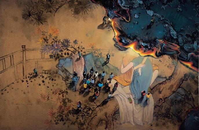 周金華 閃亮的瞬間5 66x100cm 複合媒材 畫布 2009.
