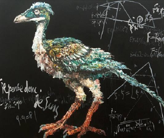 思考的禽-始祖鳥-油畫-110x130cm-2010