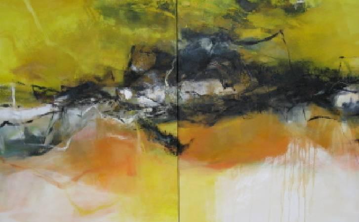 抽象山水 油畫  60F