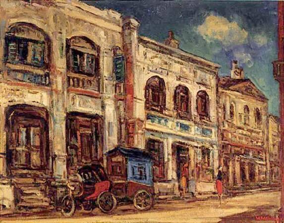 楊三郎,《迪化街口》,1946。