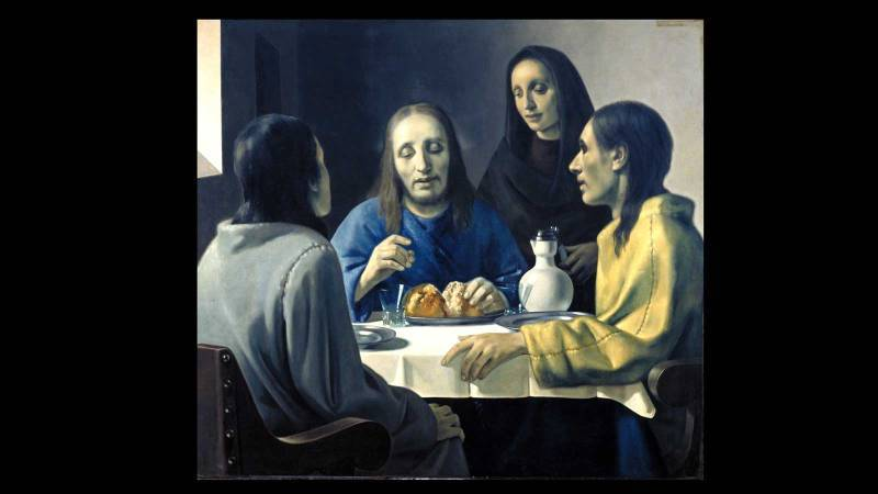 《The Disciples at Emmaus》原畫為卡拉瓦喬,Meegeren仿畫。圖/擷取自Fourth and Main。