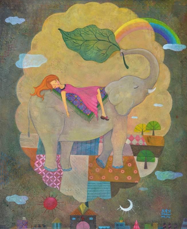 大象與沉睡公主-複合媒材65x53-2013