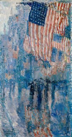 哈薩姆《雨中的大道》(The Avenue in the Rain),1917。