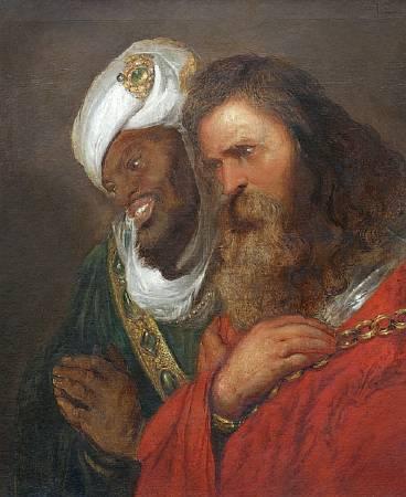 列文斯《薩拉丁大帝與呂西尼昂的居伊》(Saladin and Guy de Lusignan),c.1625。