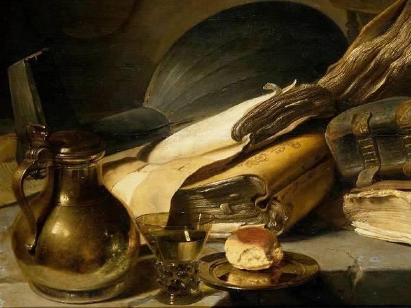 列文斯《有著書本的靜物》(Still Life with Books),c.1630。