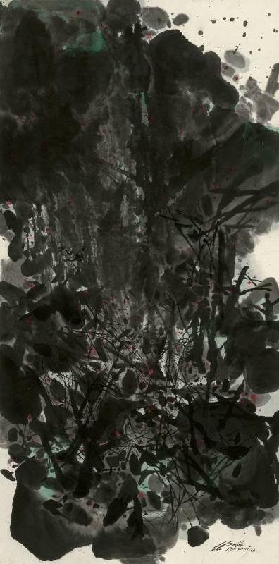朱德群,Mar 08 No1,紙上水墨,140x69cm,2008