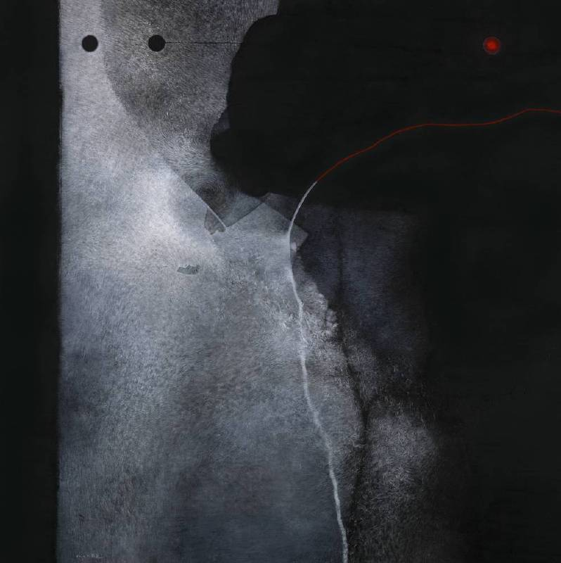 吳尚邕,從邊界徘徊開始,100x100cm,複合媒材,2014