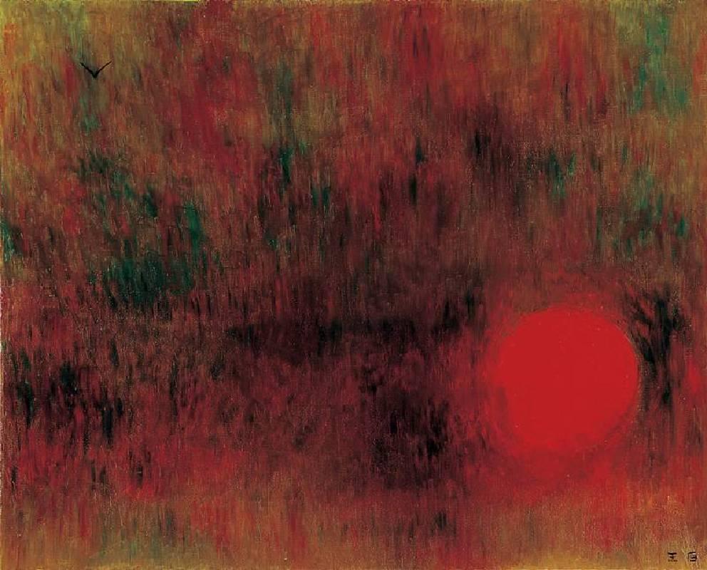 王攀元 Wang Pan Youn 紅太陽 The Flaming Sun 130x162cm 2001 油畫 oil painting