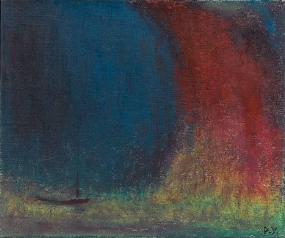王攀元 Wang Pan Youn 藍色的山38x45.5 cm 1996 油畫 oil painting