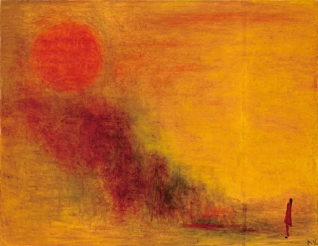 王攀元 Wang Pan Youn 觀日 Stared at the Sky 91x117 cm 1975 油畫 oil painting