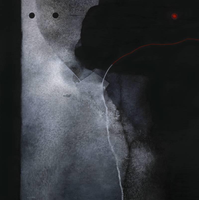 吳尚邕《從邊界徘徊開始》100x100cm,布面綜合材料,2014