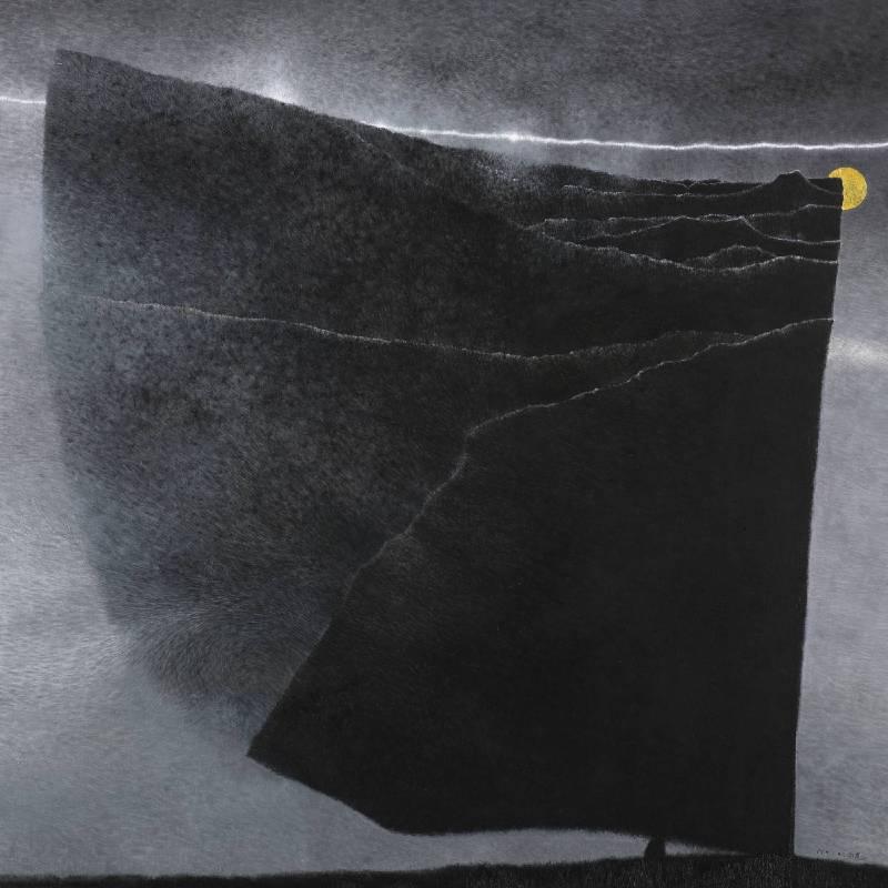 吳尚邕《重疊著,片片段段》100x100cm,布面綜合材料,2014