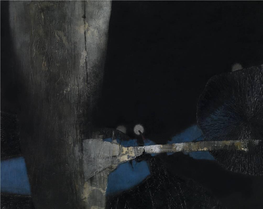 吳尚邕《交織著,以某種距離(二)》72.5x91cm,布面綜合材料,2013
