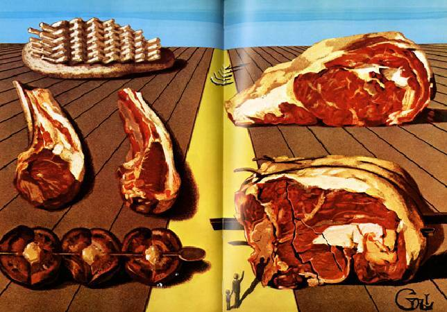 《雞姦主菜》,收錄於《卡拉的晚宴》。圖/取自Brain Pickings 。