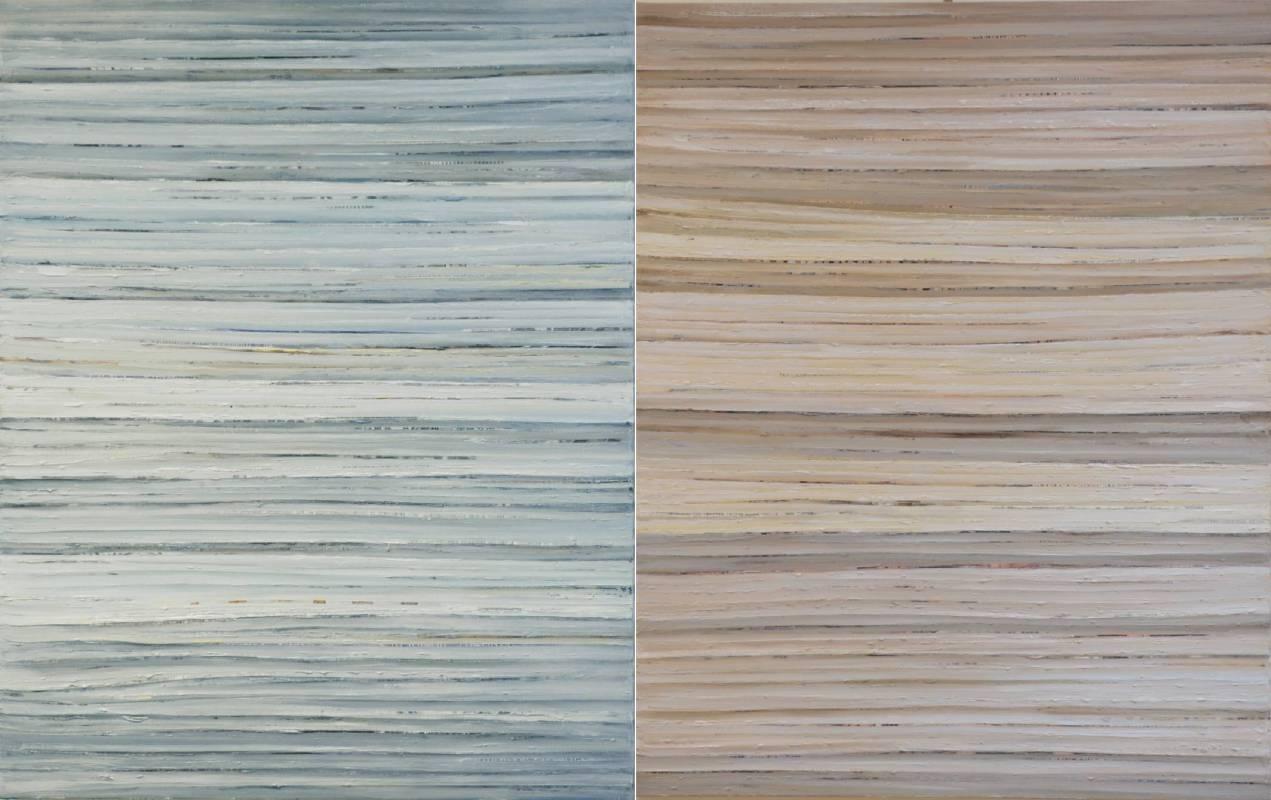 吳怡蒨 Wu I-Chien 堆疊 Stocking, 壓克力拼貼  Acrylic Collage, 91 x 145 cm, 2014