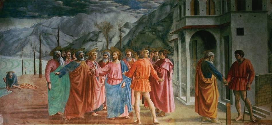布蘭卡契小堂(Brancacci Chapel )壁畫《繳納稅金》(The Tribute Money), 1425