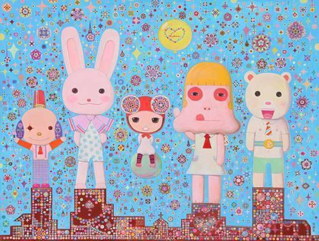 《早安少女組歡迎光臨》 壓克力、畫布,145.5×112cm,2011