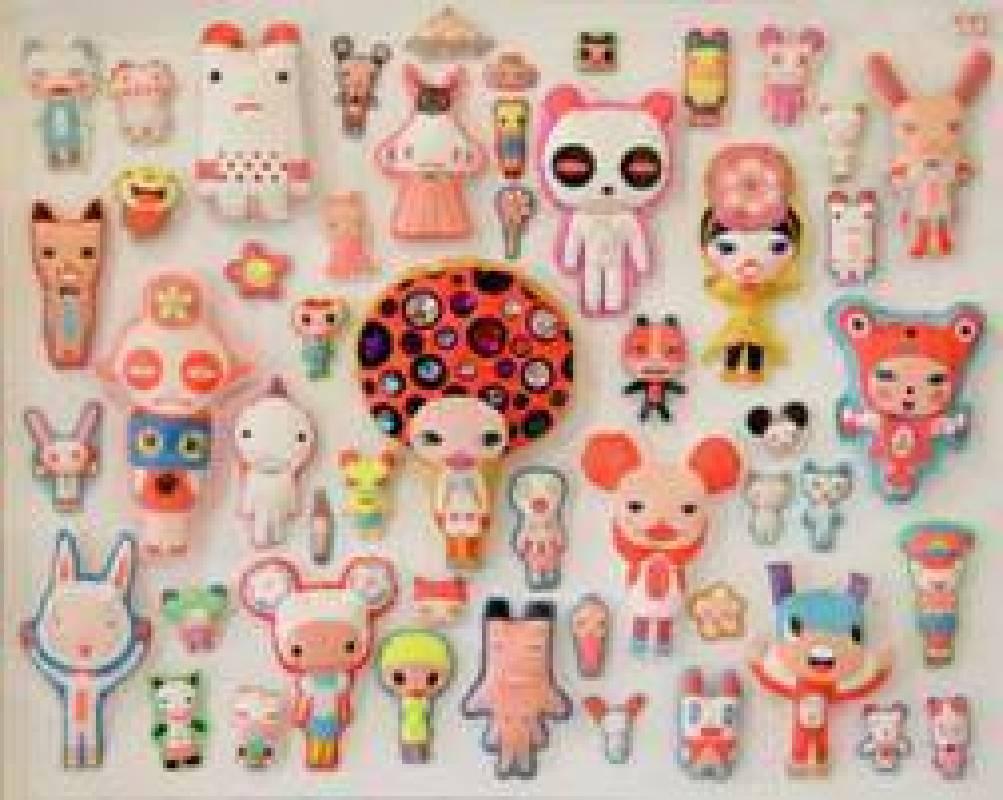 《米奇老鼠俱樂部》  複合媒材、壓克力、布、棉花、塑膠花、色鉛筆、水鑽、線,2009,125x102cm