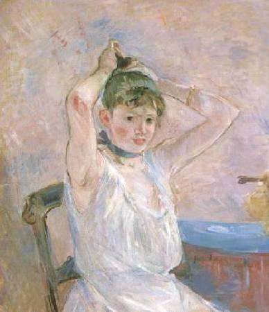 莫莉索《沐浴》(The Bath),1886。圖/取自Wikiart。