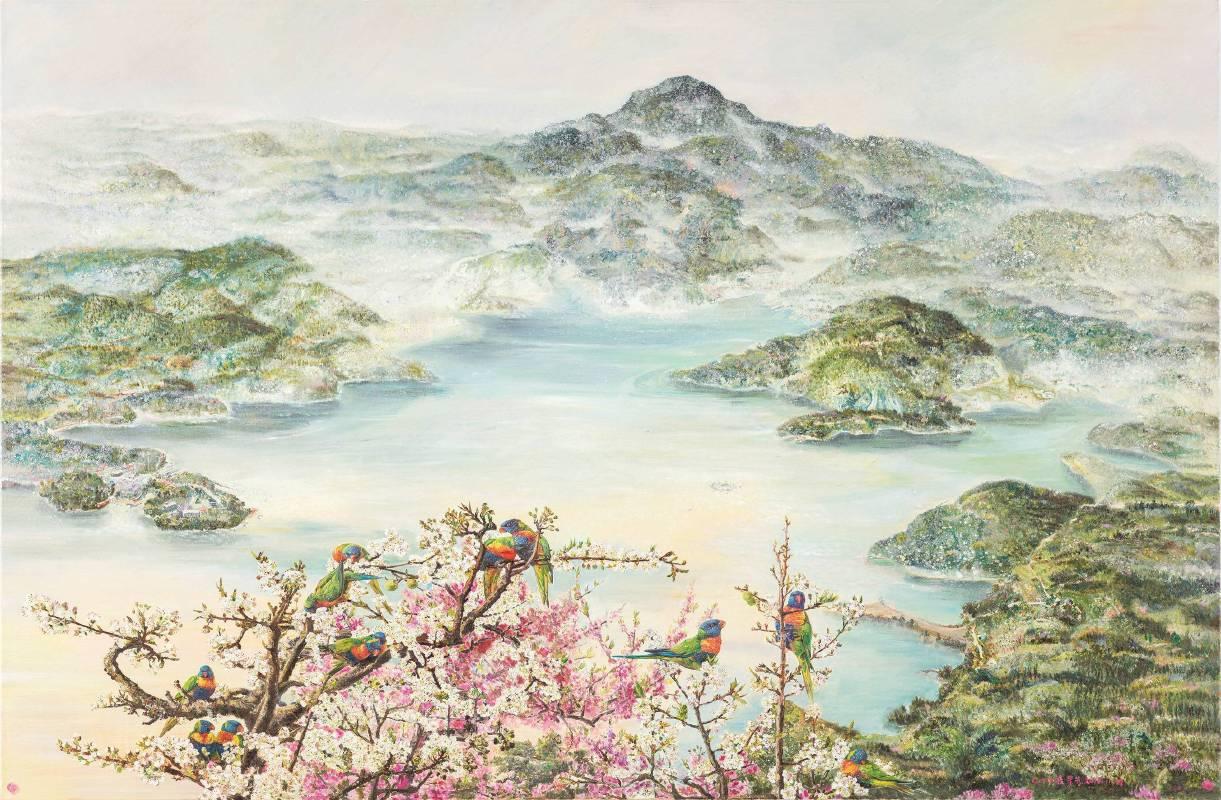 張翠容,《彩羽夢幻水沙連》,2014。