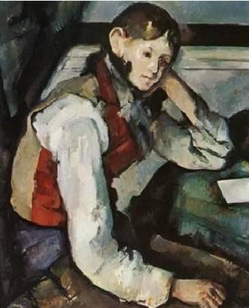 塞尚《穿紅背心的少年》(The Boy in the Red Vest),1889-1890。圖/取自Wikipedia。