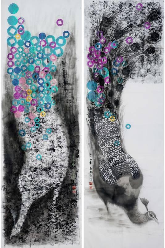 高甄斈  誰.鳥.擬系列4-對影IV  175x119cm  彩、墨、紙、布  2014