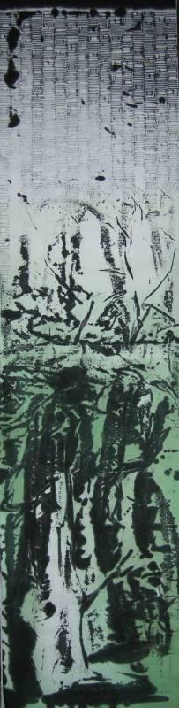 黃俊嘉  沉謐  180x45cm  水墨紙本  2014