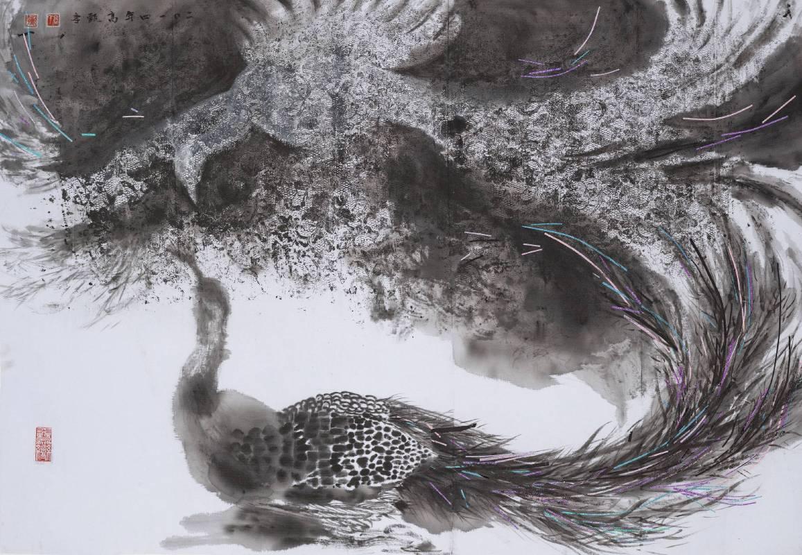 高甄斈  誰.鳥.擬系列4-對影III   74.5x106.5cm  彩、墨、布  2014