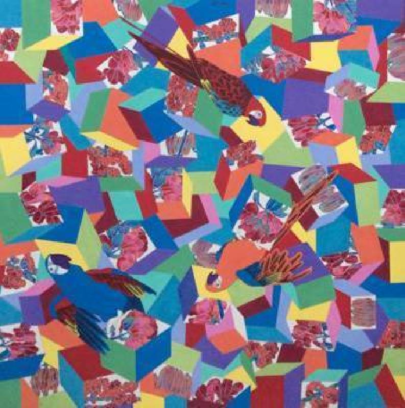 Liu Tianlian 劉天怜-Cubes and Parrots方格體與鸚鵡  纸本設色-70×70cm-2014-Hi小店