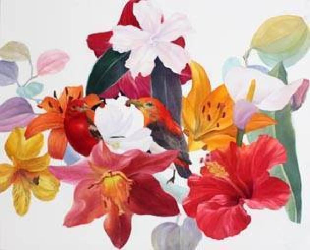Michihiro Kawabata 河端通浩-Clours of flower  Oil on canvas-65.2x53cm-2014-LSD小石画廊
