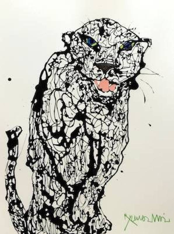 Ryuma IMAI 今井龍満-Panther  Enamel &Acrylics on Paper-40 x53cm-2014-H-art Beat Gallery