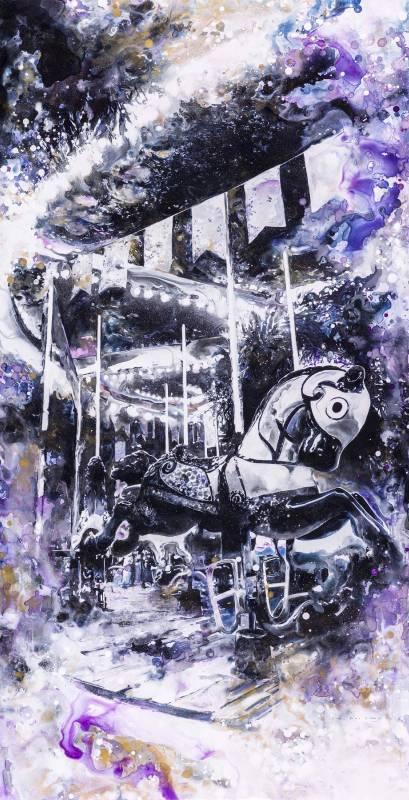 林葆靈, 旋轉木馬 VIII, 墨與壓克力於製圖膠片, 61 x 119cm, 2014