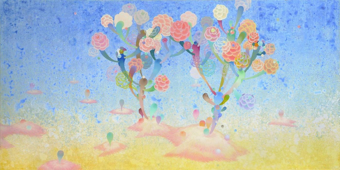 黃柏勳, 牽手樹, 壓克力, 96x192cm, 2012