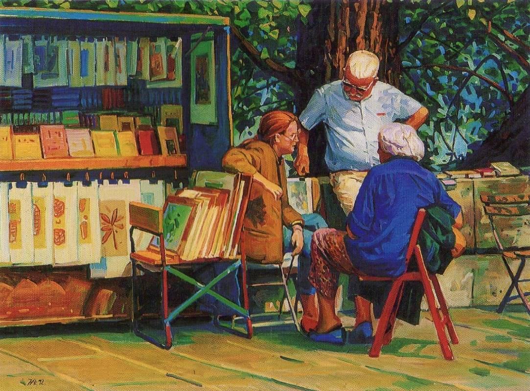 李萬全《塞納河邊的書店》 1992年
