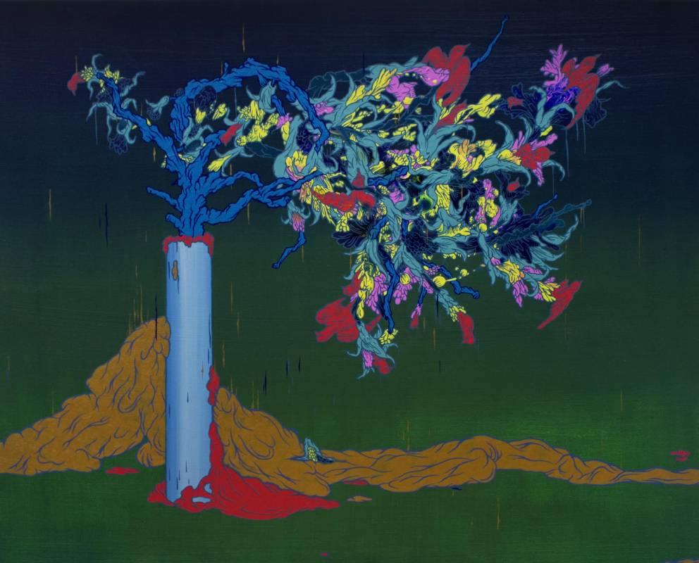 張騰遠《超有機植物-鳥》壓克力顏料、畫布 2014