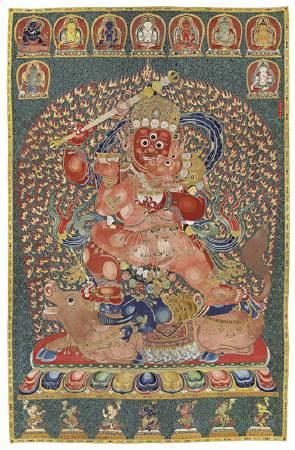 明永樂「御製紅閻摩敵刺繡唐卡」成交價3億4840萬港元,由劉益謙競得,將入藏龍美術館。