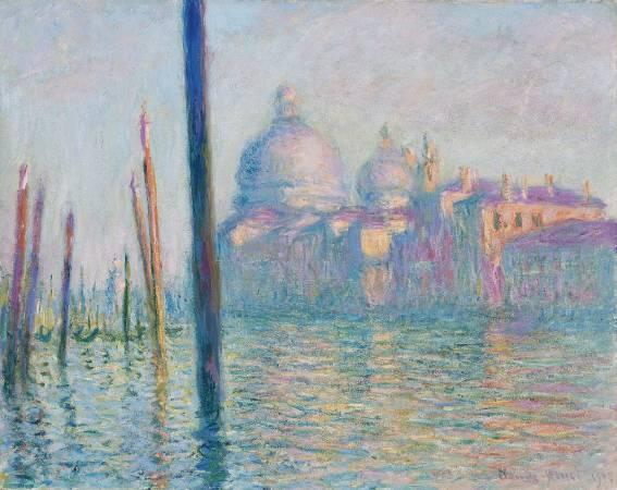 莫內《威尼斯運河》。圖/取自Wikimedia。