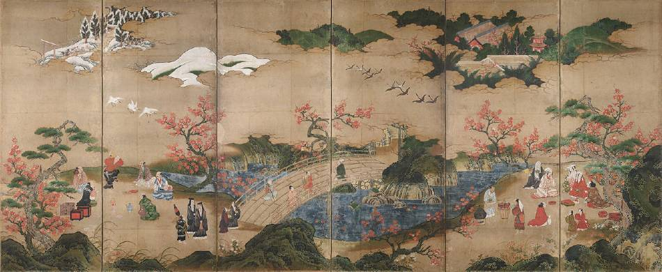 狩野孝賴,《觀楓圖屏風》。圖/取自wikipedia。