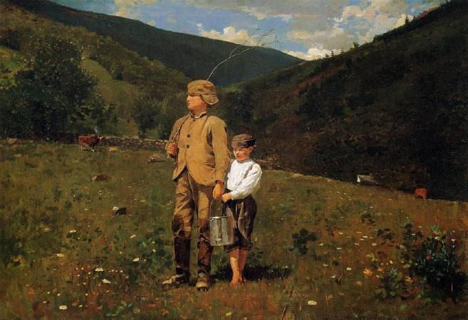 荷馬《穿越牧場》(Crossing the Pasture),1871-1872。圖/取自wikiart。