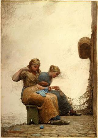 荷馬《補網》(Mending the Nets),1881。圖/取自wikiart。