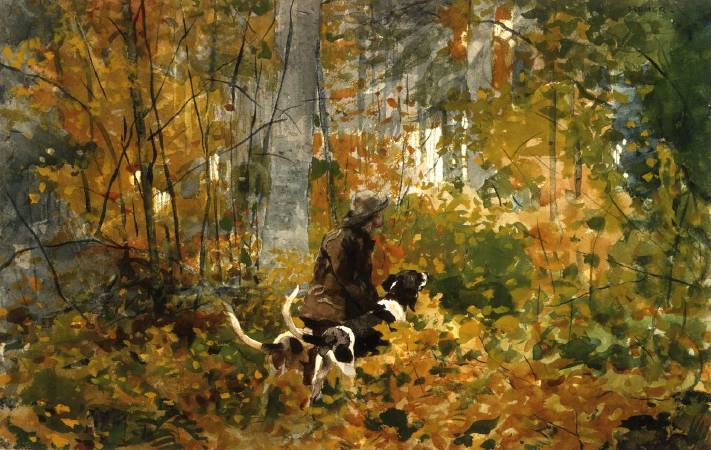 荷馬《追蹤線索》(On the Trail),1892。圖/取自wikiart。
