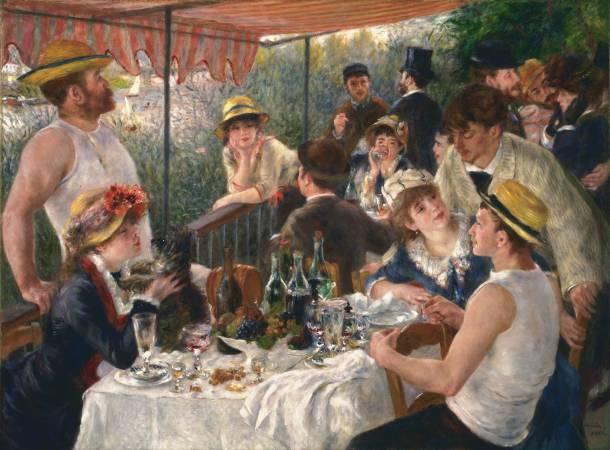 雷諾瓦,《船上的午宴》,1881年。圖/取自Wikipedia。